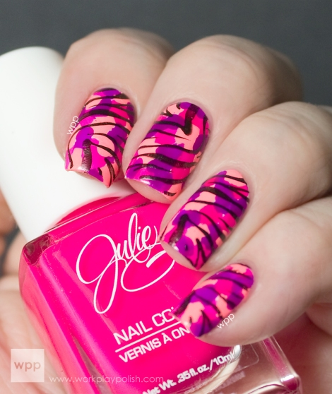JulieG splotched base in Bikini, Oh Em Gee! and Fierce & Fab with black zebra stamping