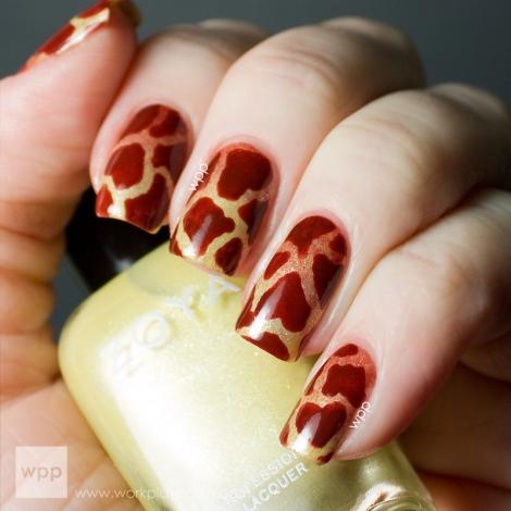 Zoya Piaf and Cola Giraffe Pattern Nail Art