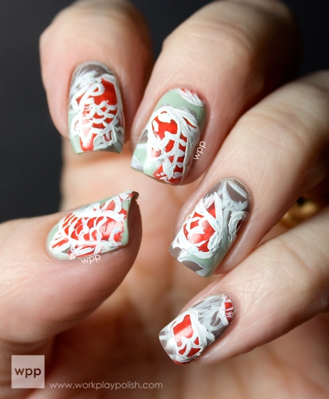 Abstract Koi Fish Nail Art