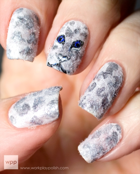 Snow Leopard Nail Art with MASH Velvet Powder